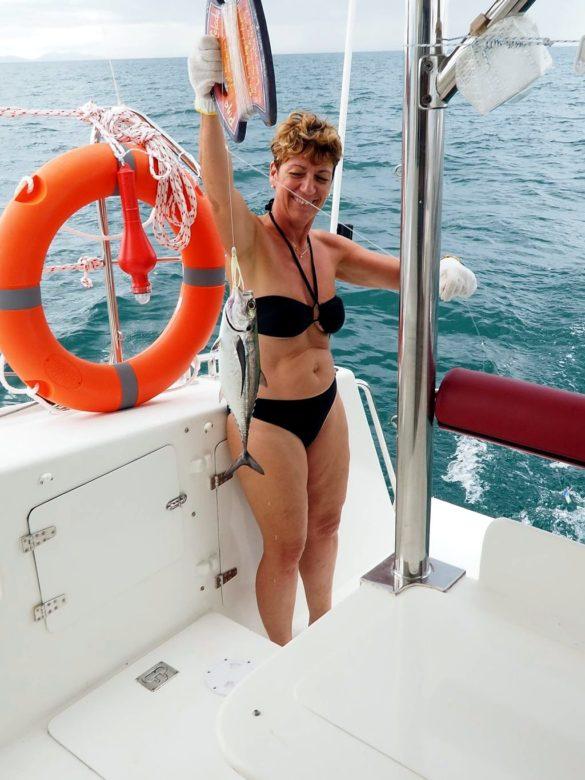 Corinne à la pêche au thon